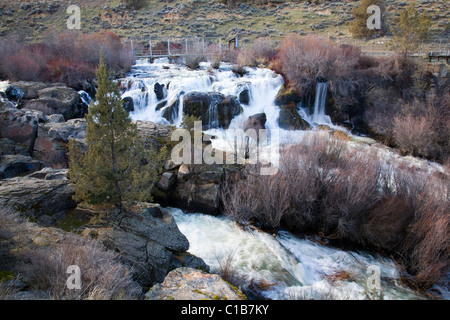 Clines Falls on the Deschutes River in central Oregon - Stock Photo