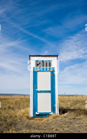 An original and functioning 'little house on the prairie', this outhouse can be found, and used, in Claunch, New - Stock Photo