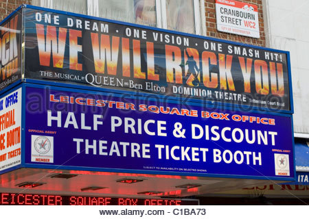 Theater Billboard Advertising we will rock you and discount tickets - Stock Photo