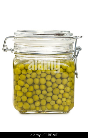 canned green peas in glass jar - Stock Photo