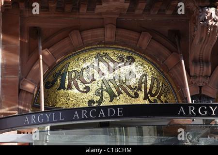 Argyll Arcade sign in Glasgow city centre, Scotland, UK - Stock Photo