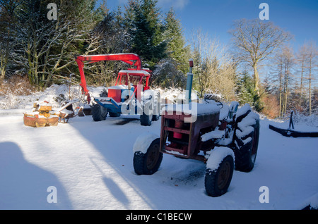 Two working tractors in forestry yard after heavy fall of snow in bright sunshine - Stock Photo