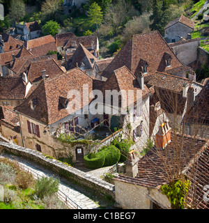 The roofing of the Saint-Cirq-Lapopie village (Lot - France). Toitures du village de Saint Cirq Lapopie (Lot - France). - Stock Photo