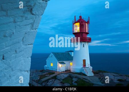The idyllic Lindesnes Fyr Lighthouse, Lindesnes, Norway Stock Photo