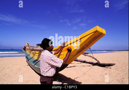 Sri Lanka, south-west coast, Bentota, catamarans - Stock Photo