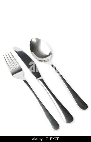Fork, knife and spoon isolated on white background - Stock Photo