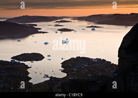 The fjord outside Narsaq, South Greenland. - Stock Photo