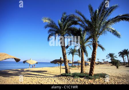 Egypt, Sinai Peninsula, the beach of Nuweiba, a little seaside resort in the Aqaba Gulf - Stock Photo