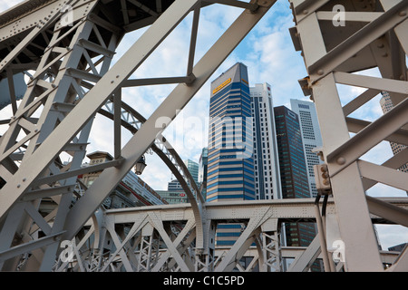 The skyline of the central business district viewed through the Anderson Bridge, Singapore - Stock Photo