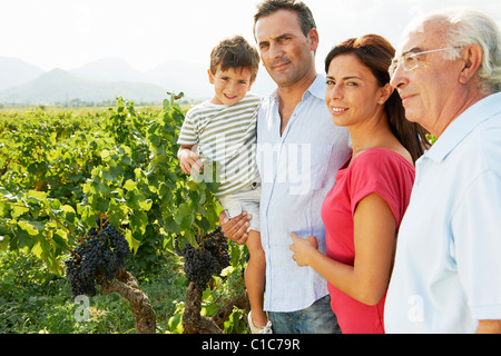 Generational family in a vineyard - Stock Photo