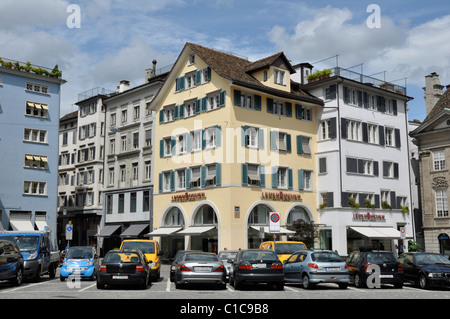 Shops and car parking, central Zurich, Switzerland, Europe - Stock Photo