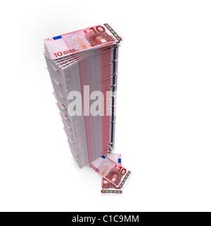 Tall stack of Ten Euro notes on white - Stock Photo