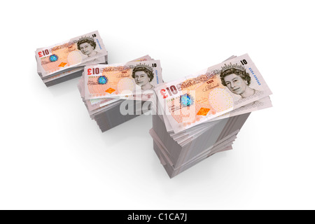 Money - Piles of Ten Pound Notes Sterling - Stock Photo