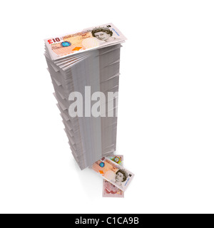 Money stack - Tall pile of Ten Pound notes Sterling on white - Stock Photo