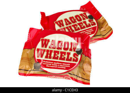 Two Wagon Wheels marsh mallow centered chocolate biscuits - Stock Photo