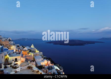 morning mood in Fira, Santorini, Cyclades, Greece - Stock Photo