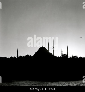 Sunset at Golden Horn to the Suleyman Suleiman Suleymaniye Mosque of Istanbul in Turkey Middle East Asia. Silhouette - Stock Photo
