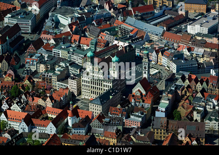 aerial view above Rathaus City Hall Perlachturm Perlach bell tower central Augsburg Bavaria Germany - Stock Photo