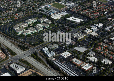 aerial view above Apple Inc headquarters Cupertino California - Stock Photo