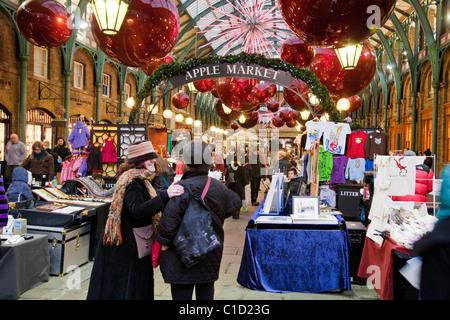 Apple Market inside Covent Garden Market, London, Uk - Stock Photo