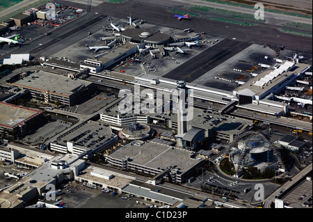 aerial view above FAA control tower Los Angeles International Airport LAX California - Stock Photo