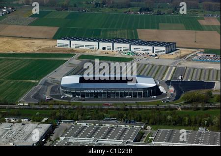 aerial view above Impuls Arena soccer football stadium Augsburg Bavaria Germany - Stock Photo