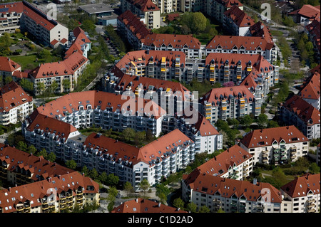 aerial view above apartment houses Augsburg Germany - Stock Photo