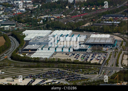 aerial view above Messe Augsburg Convention Center Bavaria Germany - Stock Photo