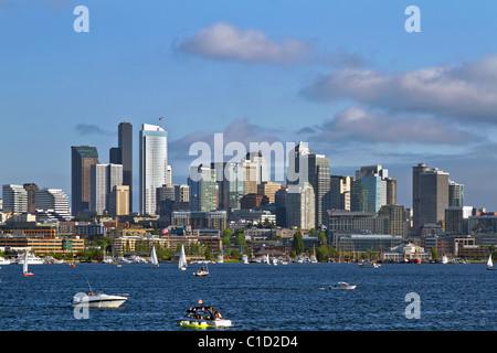 Seattle Washington Skyline on Lake Union with Boats - Stock Photo