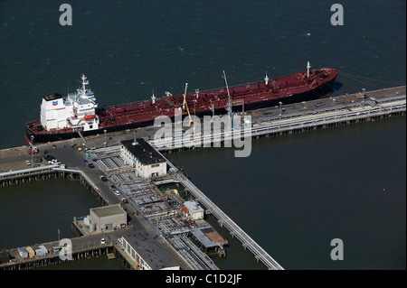 aerial view above Colorado Voyager Chevron petroleum tanker moored at Chevron Long Wharf Richmond California - Stock Photo