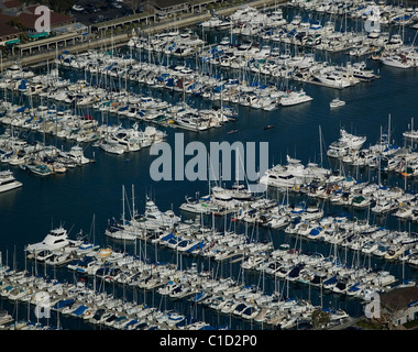 aerial view above Dana Point Harbor Orange County California - Stock Photo
