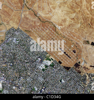 aerial map view above Concord Naval Weapons Station Contra Costa County California - Stock Photo