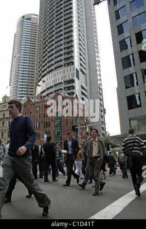 Pedestrians crossing at Grosvenor and George Streets in the city of Sydney, NSW, Australia - Stock Photo