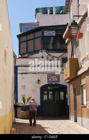 Street sketch in an old city. Alvor, Algarve, PORTUGAL - Stock Photo