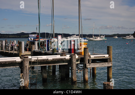 Landing wharf on waterfront, Russell, Bay of Islands, Northland Region, North Island, New Zealand - Stock Photo