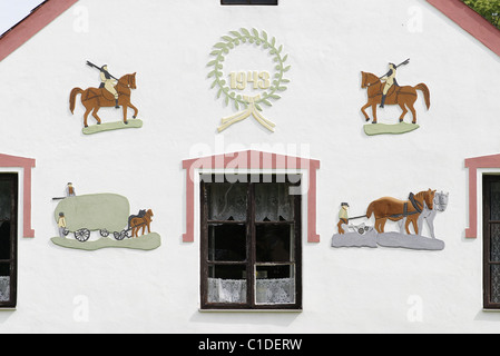 Czech Republic, Bohemia, Holasovice, historical village listed as a World Heritage by UNESCO, decorated facade of - Stock Photo