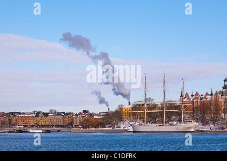 The ship af Chapman, youth hostel in Stockholm, Sweden. - Stock Photo