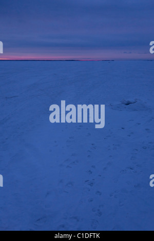 Dawn in winter in the 'Archipelago of Stockholm', Sweden. - Stock Photo