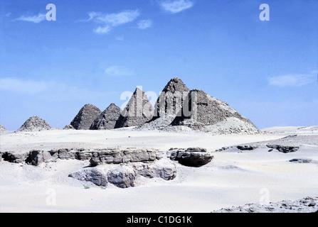 Sudan, Meroe site, Nuri pyramids - Stock Photo
