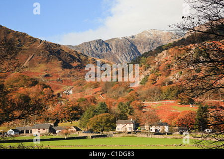 View to Mount Snowdon and the Watkin Path route in Snowdonia National Park. Bethania, Nant Gwynant, Gwynedd, North Wales, UK, Britain.