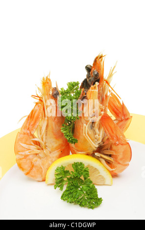 Three crevette prawns on a plate with lemon and parsley garnish - Stock Photo