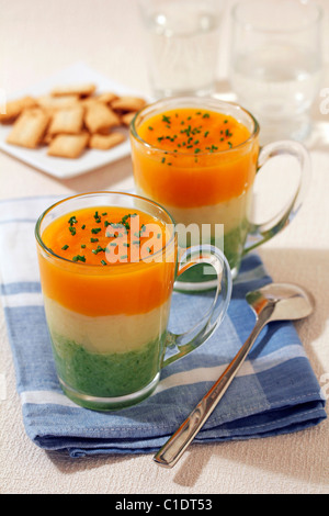 Vegetables soup in three colours. Recipe available. - Stock Photo