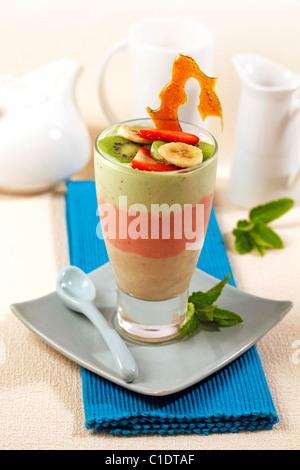Three fruits smoothie. Recipe available. - Stock Photo