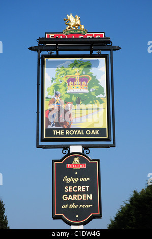 Sign for The Royal Oak Public House at Lagness Nr Bognor, West Sussex - Stock Photo