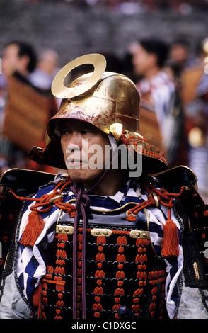 Japan, Tokyo, Portrait of a japanese man wearing a samurai traditional costume