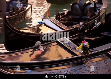 Venice Gondolas; Gondolas in the morning sun, Venice, Italy