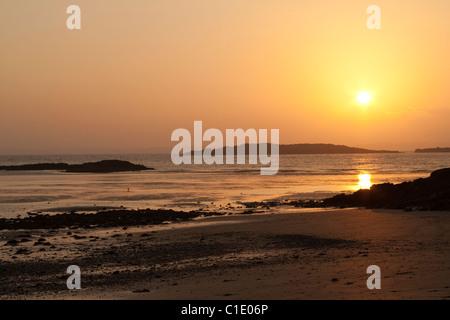 Sunset over the Irish Sea near Knockbrex, Dumfries & Galloway - Stock Photo