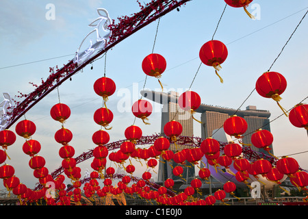 Chinese lanterns for River Hongbao festivities (lunar new year) with the Marina Bay Sands in background.  Marina - Stock Photo