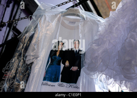 Souvenir t-shirt featuring Prince William and Kate Middleton commemorating royal wedding in 2011 - Stock Photo