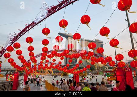 Chinese lanterns for River Hongbao festivities.  Marina Bay, Singapore - Stock Photo